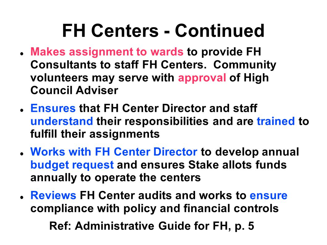 FH Centers - Continued