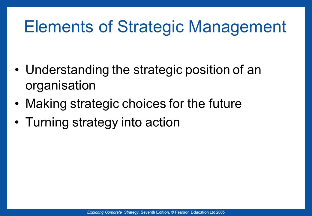 Elements of Strategic Management