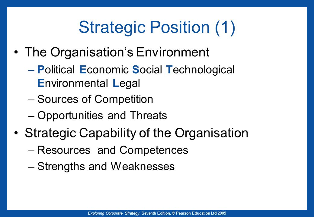 Strategic Position (1) The Organisation's Environment
