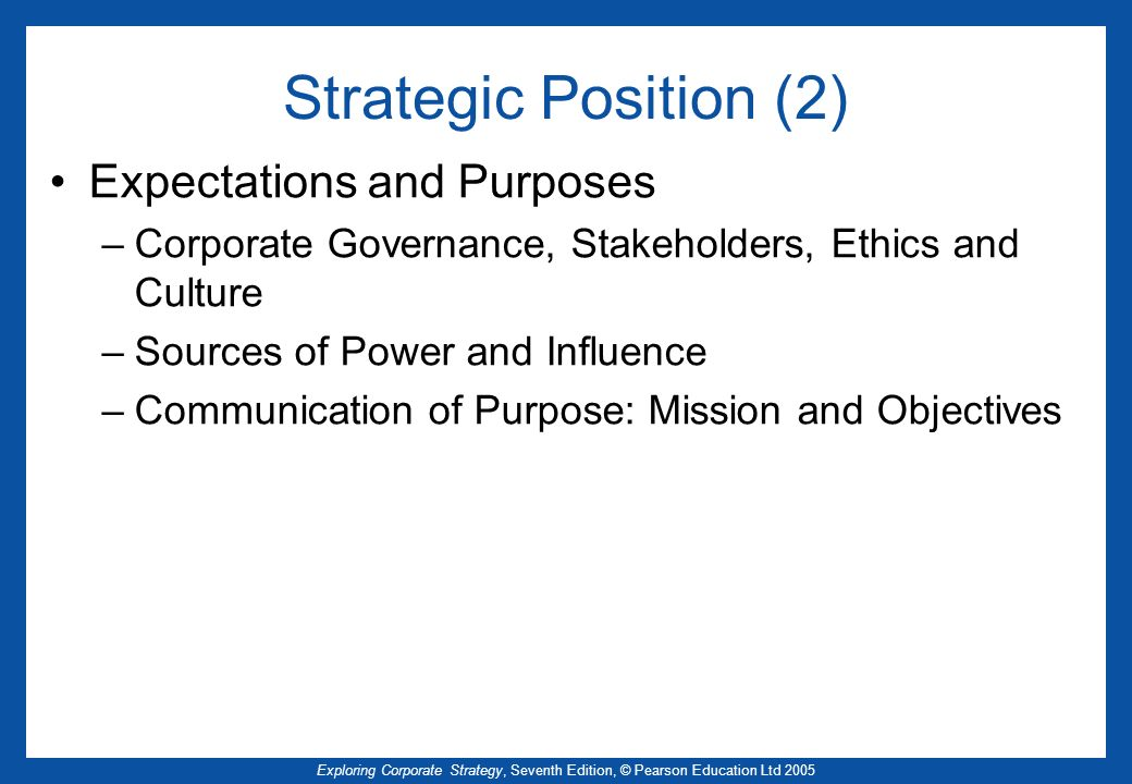 Strategic Position (2) Expectations and Purposes