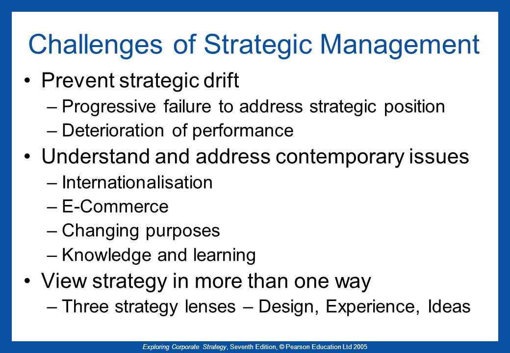 Challenges of Strategic Management