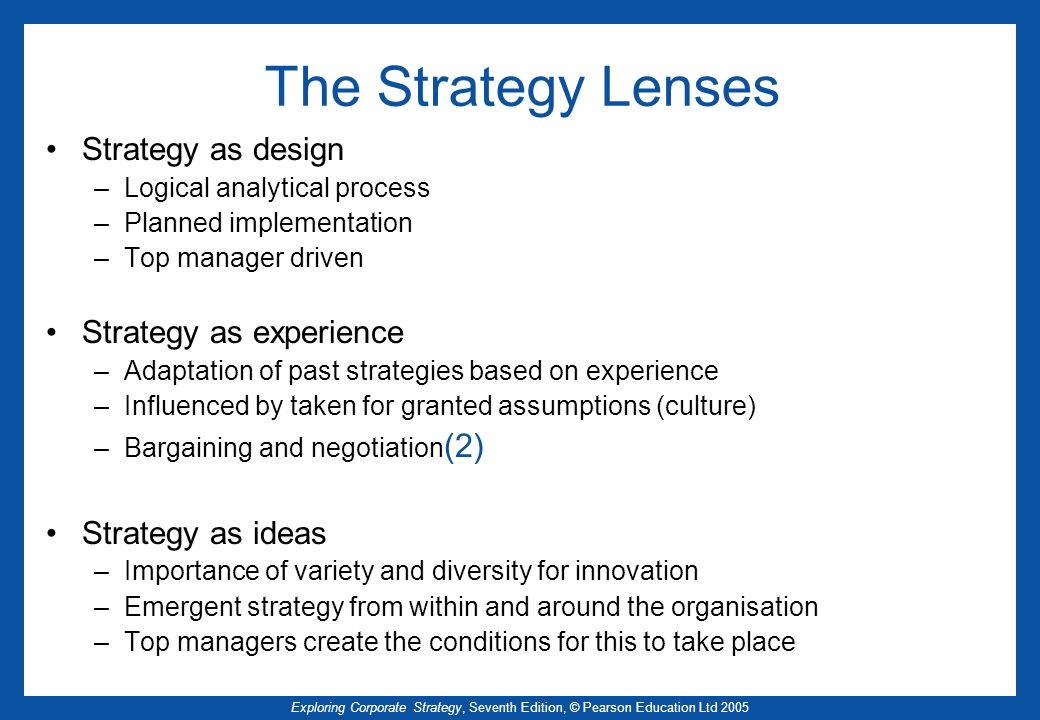 The Strategy Lenses Strategy as design Strategy as experience