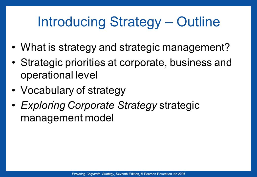 Introducing Strategy – Outline