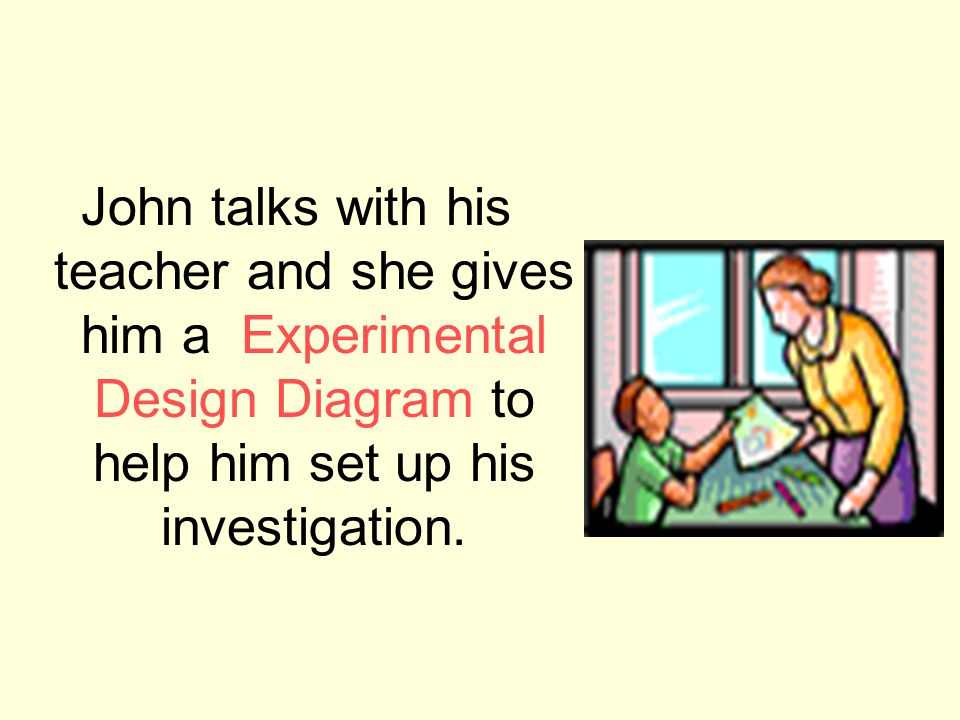John talks with his teacher and she gives him a Experimental Design Diagram to help him set up his investigation.
