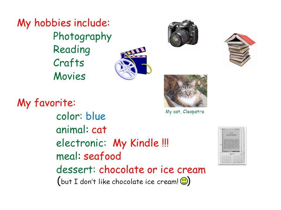 My hobbies include: Photography Reading Crafts Movies My favorite: color: blue animal: cat electronic: My Kindle !!! meal: seafood dessert: chocolate or ice cream (but I don't like chocolate ice cream! )