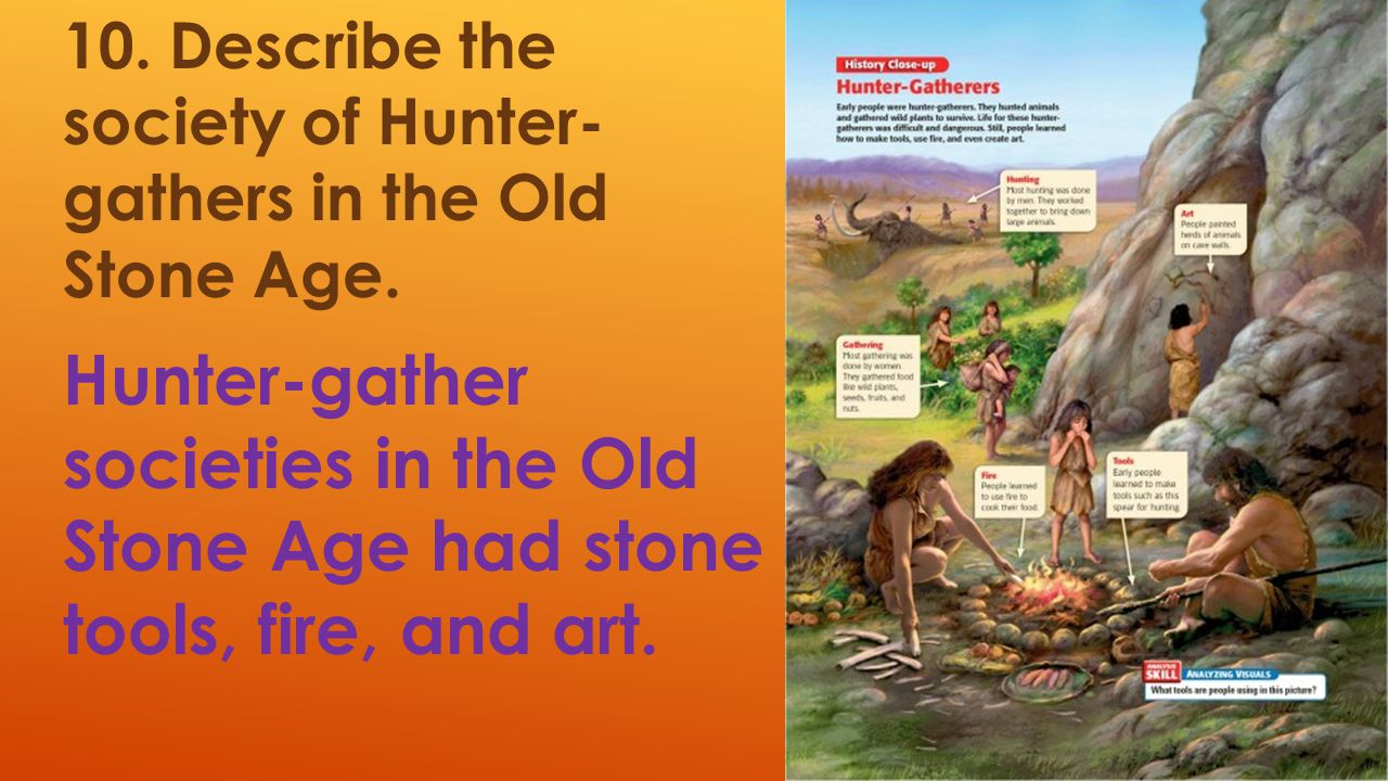 10. Describe the society of Hunter- gathers in the Old Stone Age.