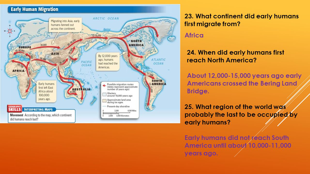 23. What continent did early humans first migrate from