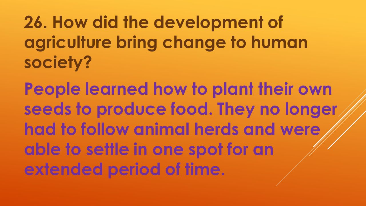 26. How did the development of agriculture bring change to human society.
