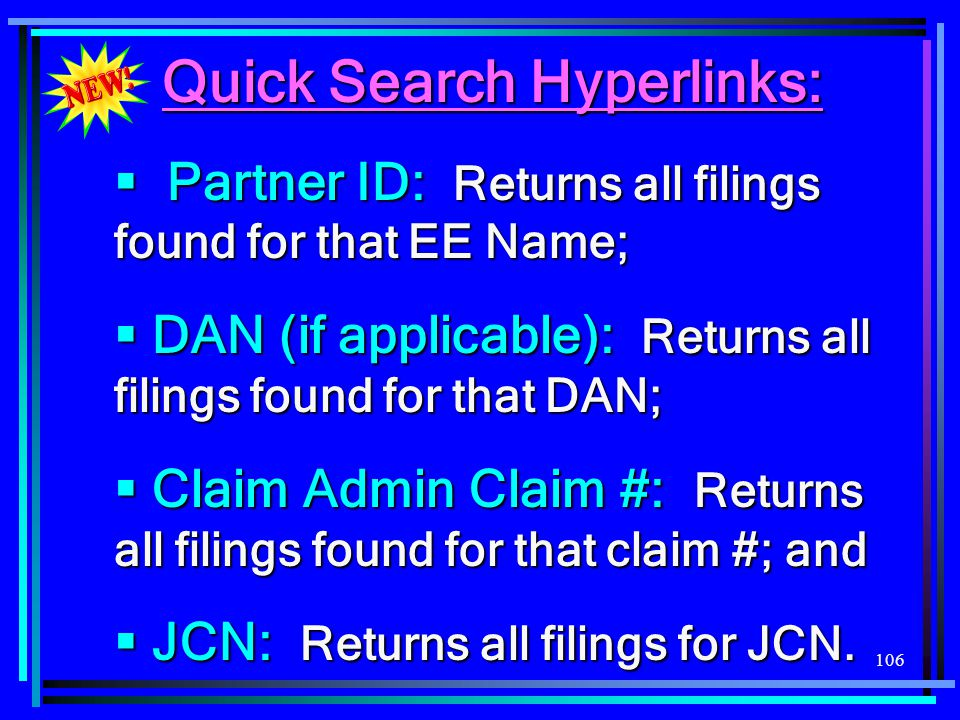 Quick Search Hyperlinks: