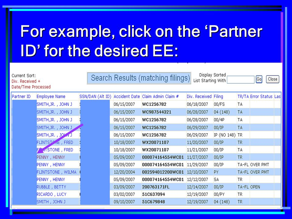 For example, click on the 'Partner ID' for the desired EE: