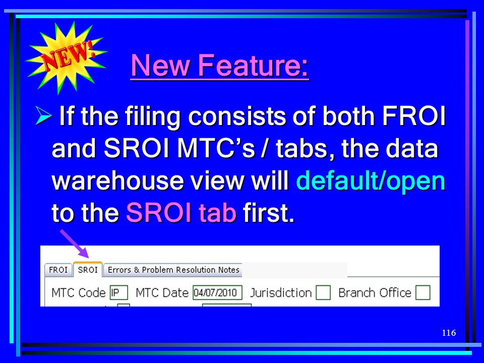 New Feature: If the filing consists of both FROI and SROI MTC's / tabs, the data warehouse view will default/open to the SROI tab first.