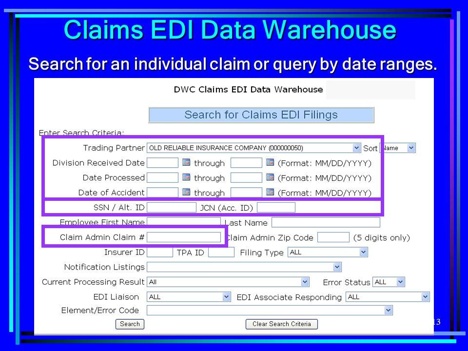 Claims EDI Data Warehouse