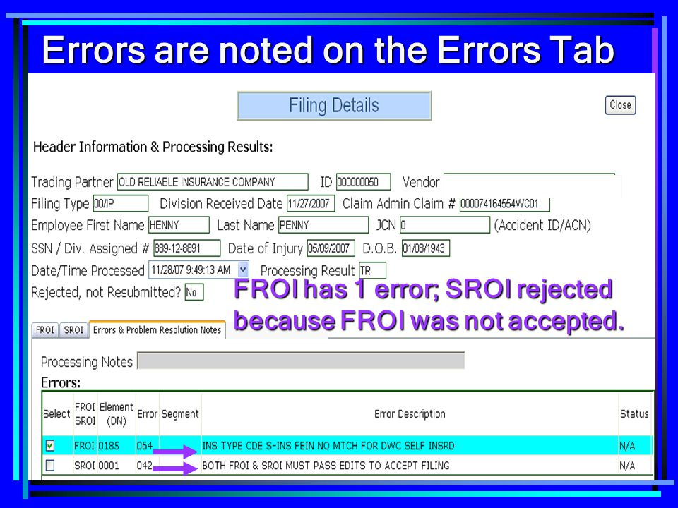 Errors are noted on the Errors Tab