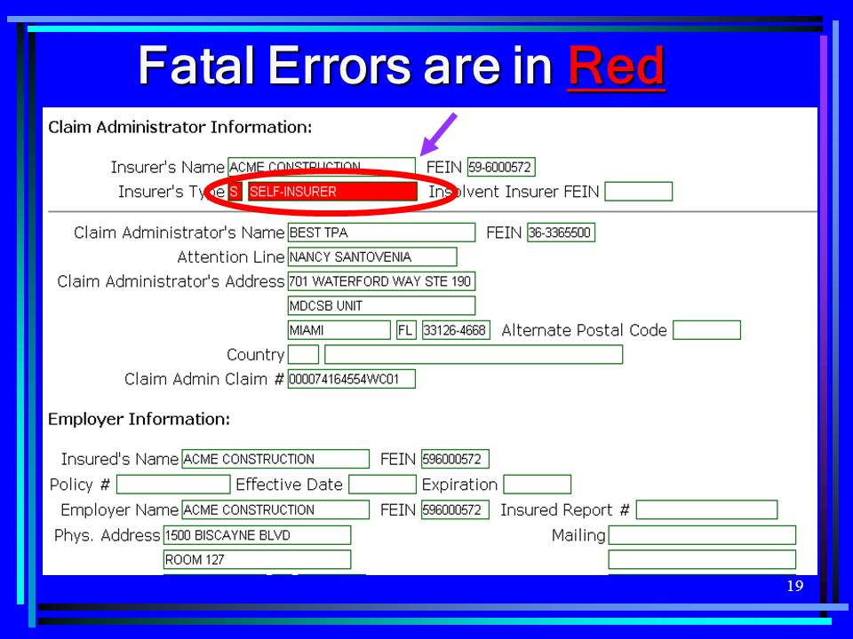 Fatal Errors are in Red