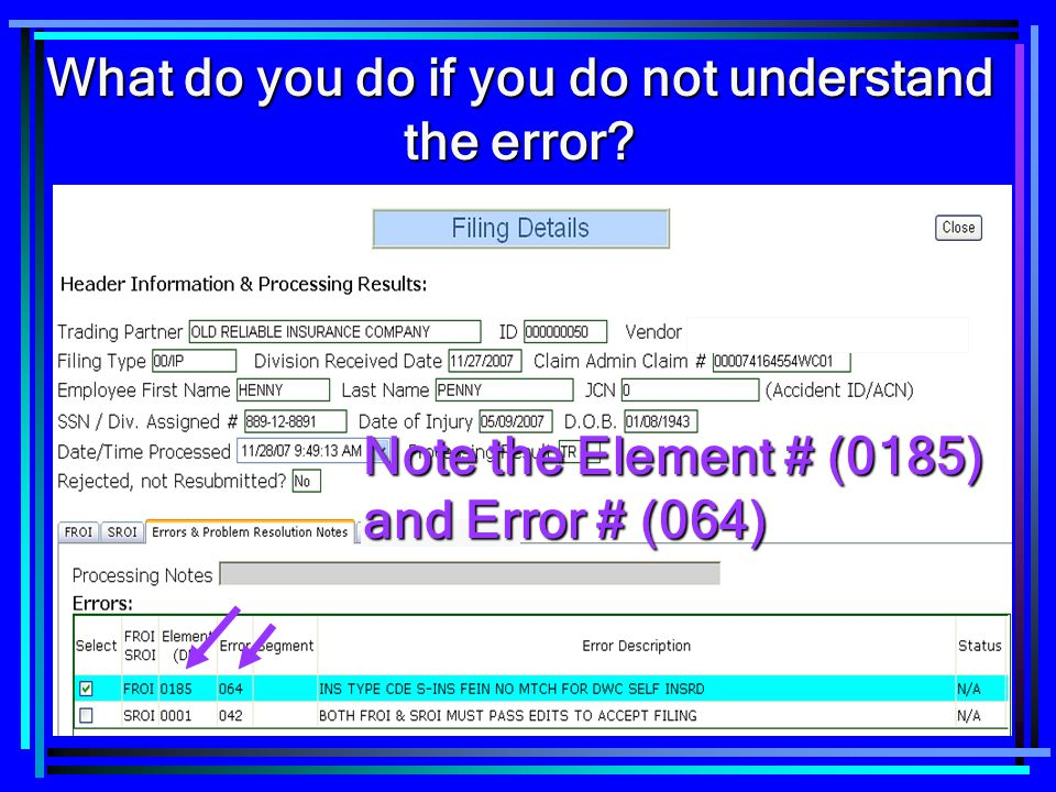 What do you do if you do not understand the error