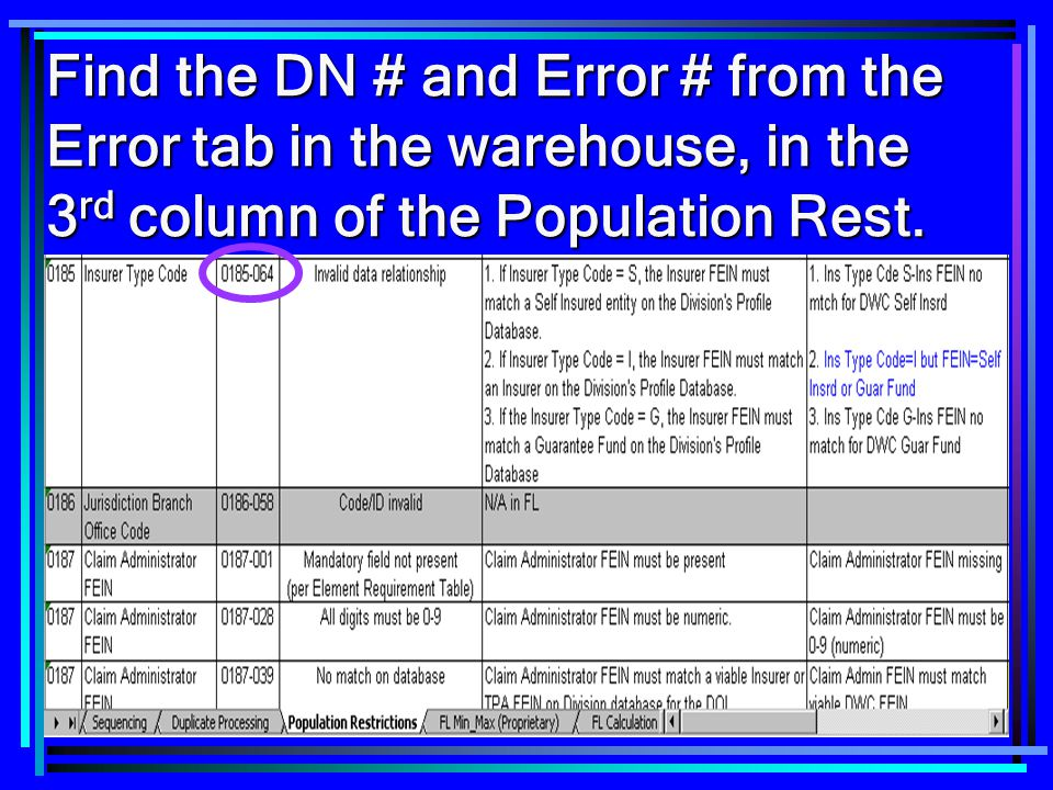 Find the DN # and Error # from the Error tab in the warehouse, in the 3rd column of the Population Rest.