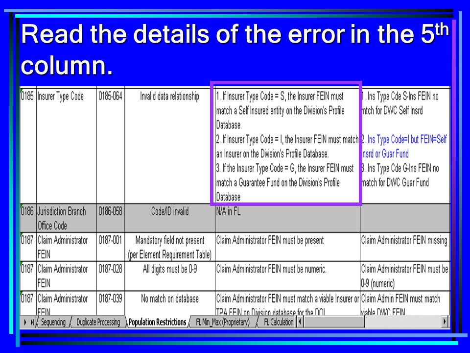 Read the details of the error in the 5th column.