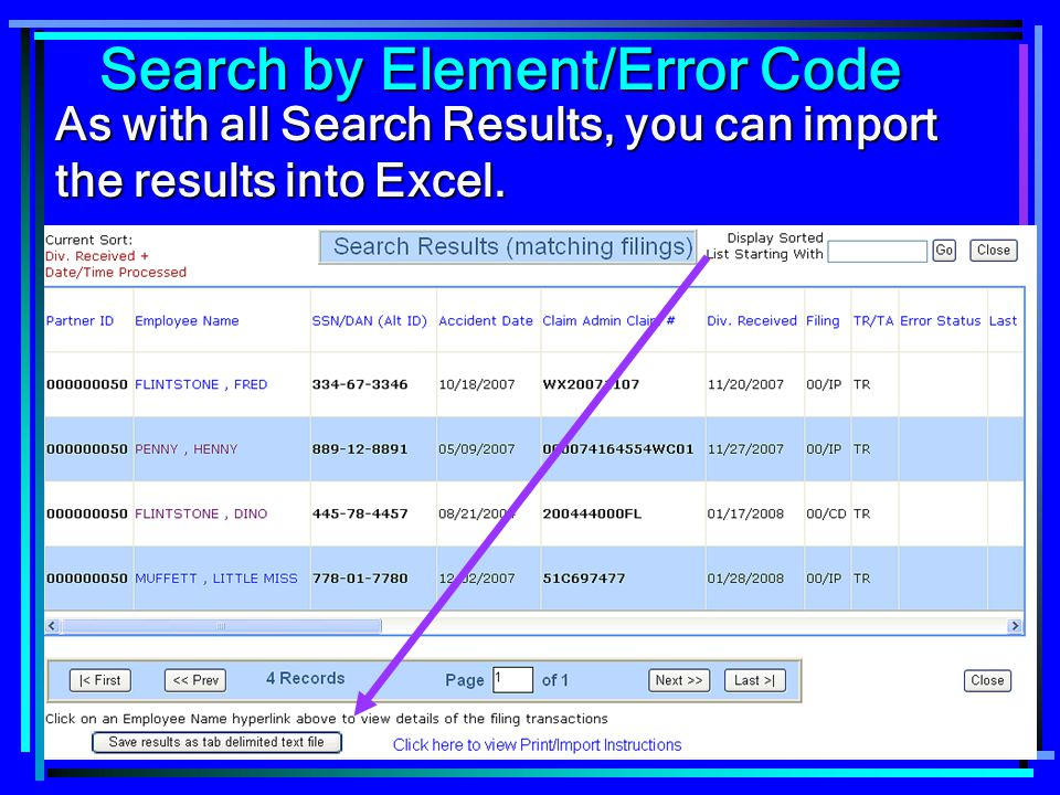 Search by Element/Error Code