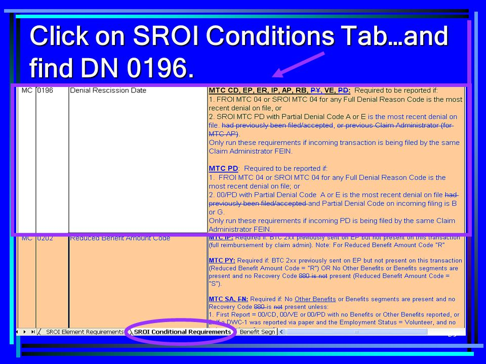 Click on SROI Conditions Tab…and find DN 0196.