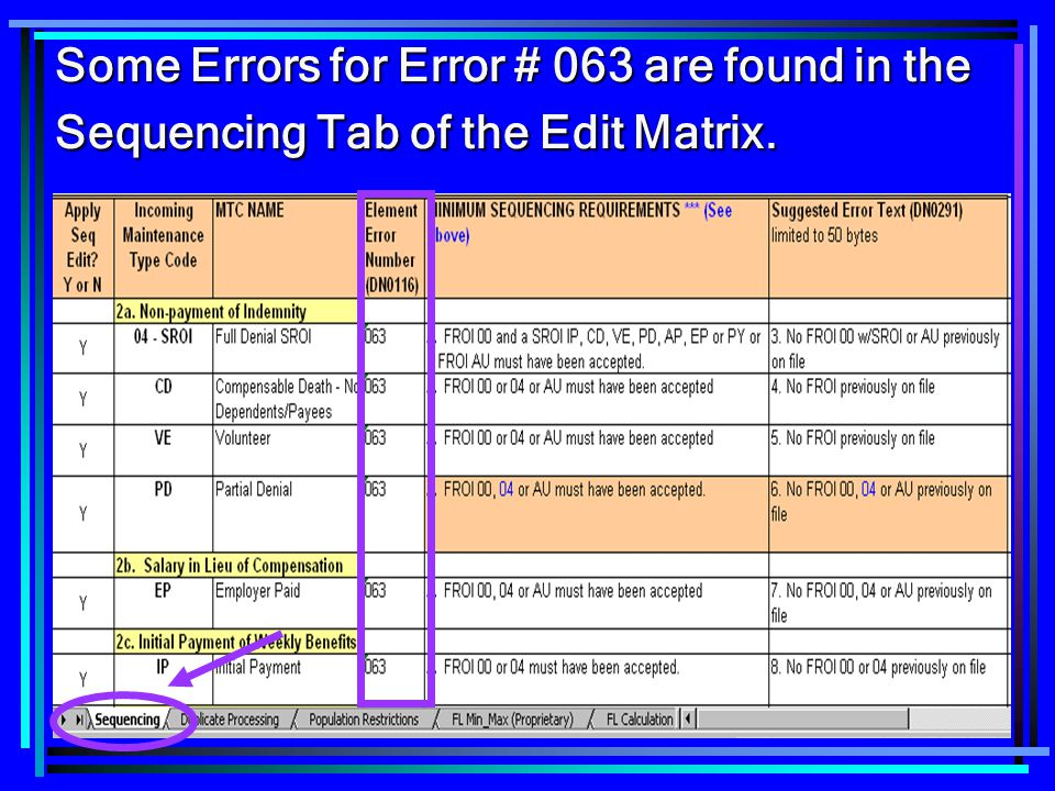 Some Errors for Error # 063 are found in the Sequencing Tab of the Edit Matrix.