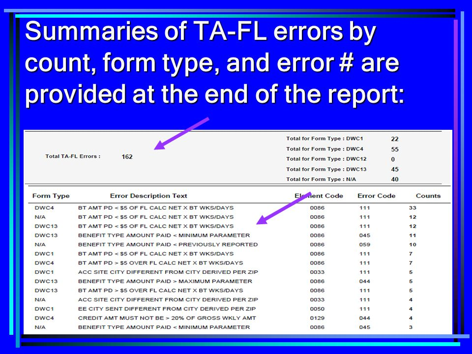 Summaries of TA-FL errors by count, form type, and error # are provided at the end of the report: