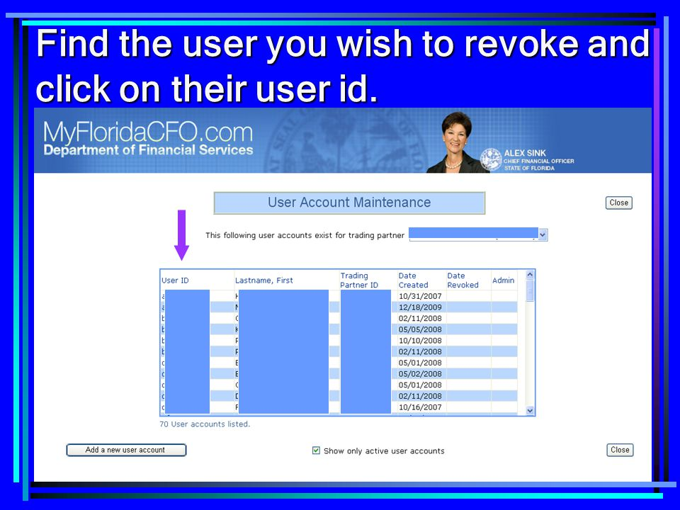 Find the user you wish to revoke and click on their user id.