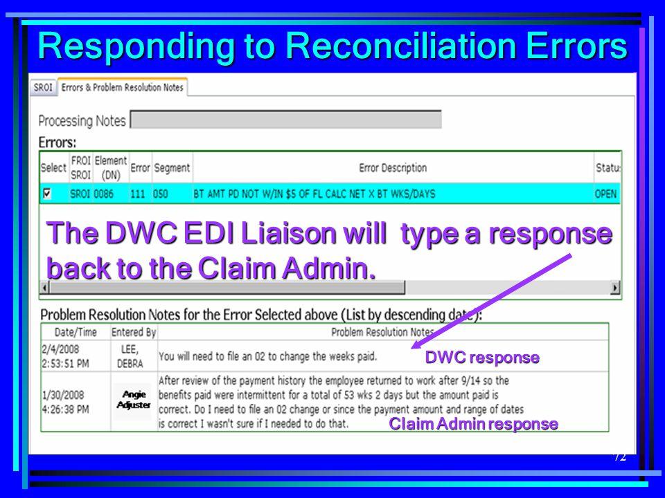 Responding to Reconciliation Errors