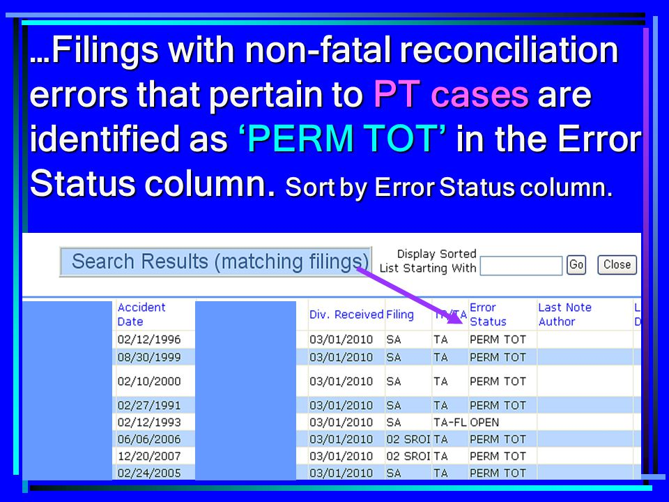 …Filings with non-fatal reconciliation errors that pertain to PT cases are identified as 'PERM TOT' in the Error Status column.