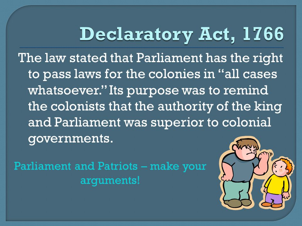 Parliament and Patriots – make your arguments!