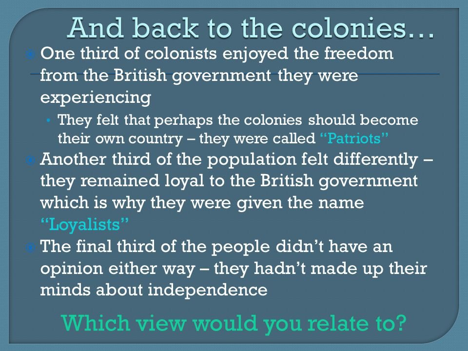 And back to the colonies…