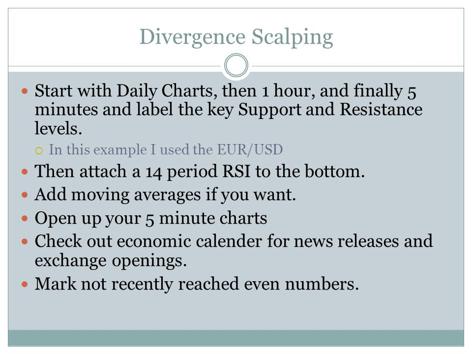Divergence Scalping Start with Daily Charts, then 1 hour, and finally 5 minutes and label the key Support and Resistance levels.