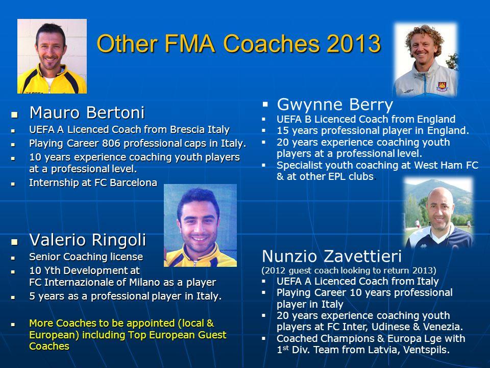 Other FMA Coaches 2013 Mauro Bertoni Gwynne Berry Valerio Ringoli