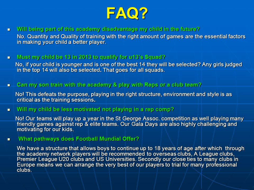 FAQ Will being part of this academy disadvantage my child in the future