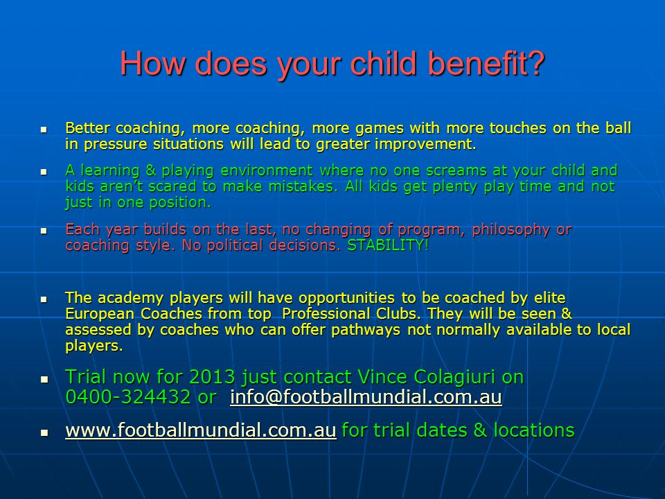 How does your child benefit