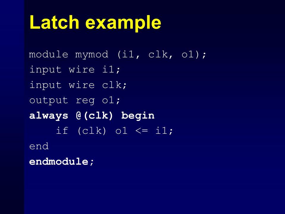 Latch example module mymod (i1, clk, o1); input wire i1;