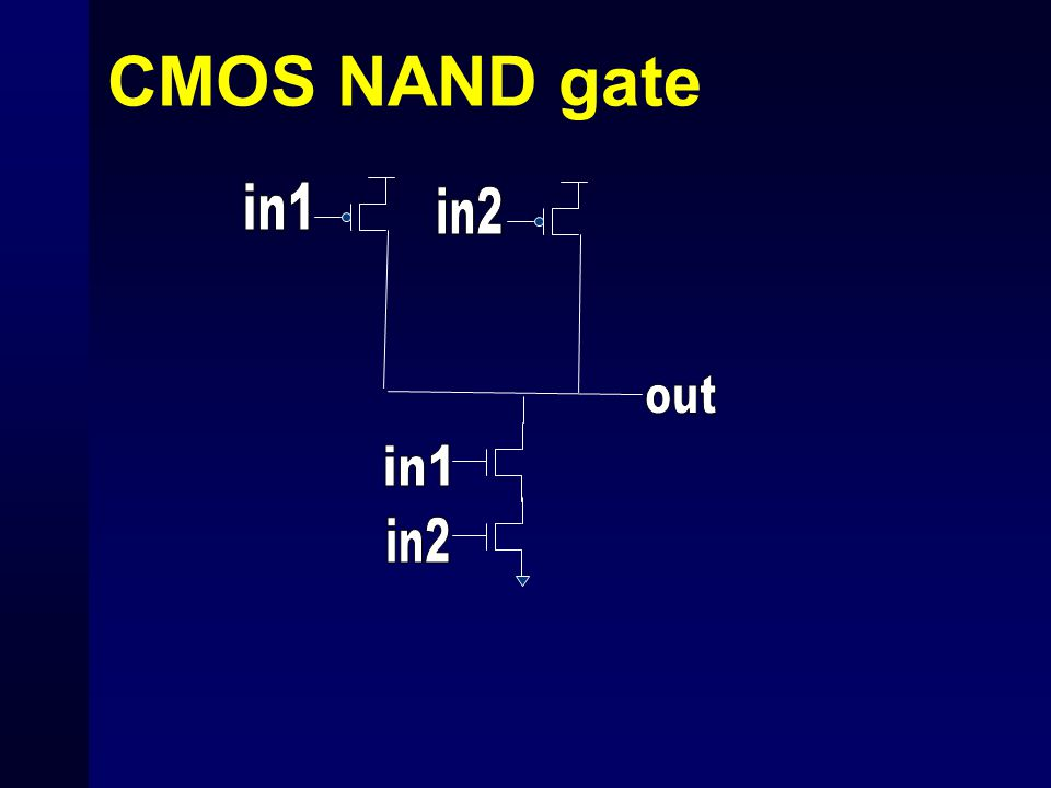 CMOS NAND gate in1 in2 out in1 in2