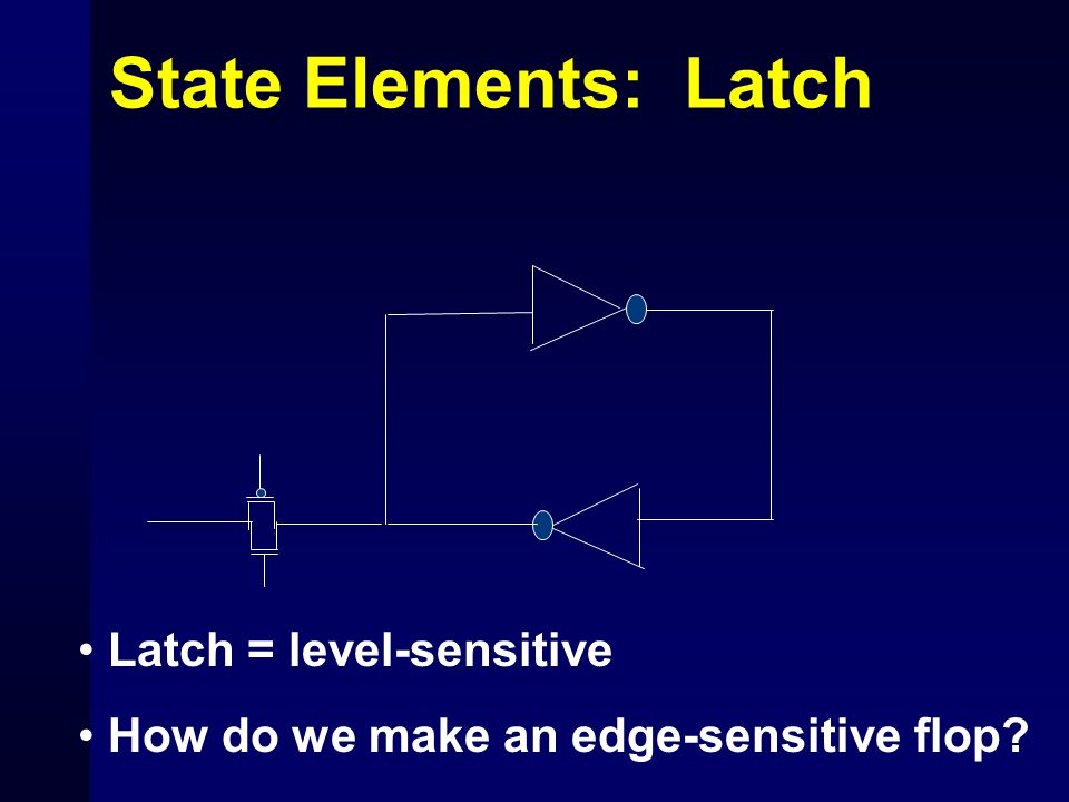 State Elements: Latch Latch = level-sensitive