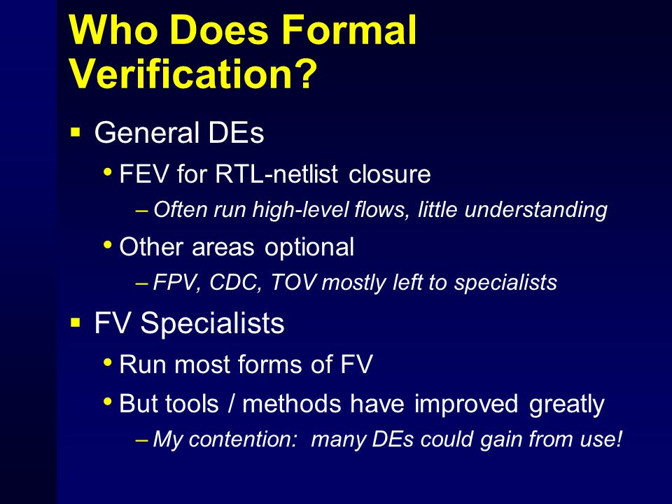 Who Does Formal Verification
