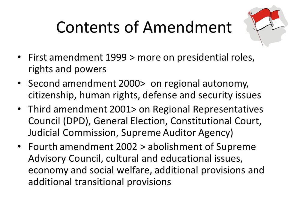 Contents of Amendment First amendment 1999 > more on presidential roles, rights and powers.