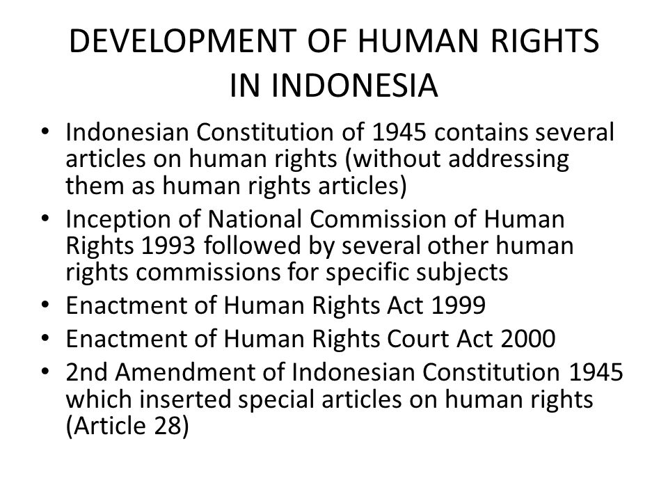 DEVELOPMENT OF HUMAN RIGHTS IN INDONESIA