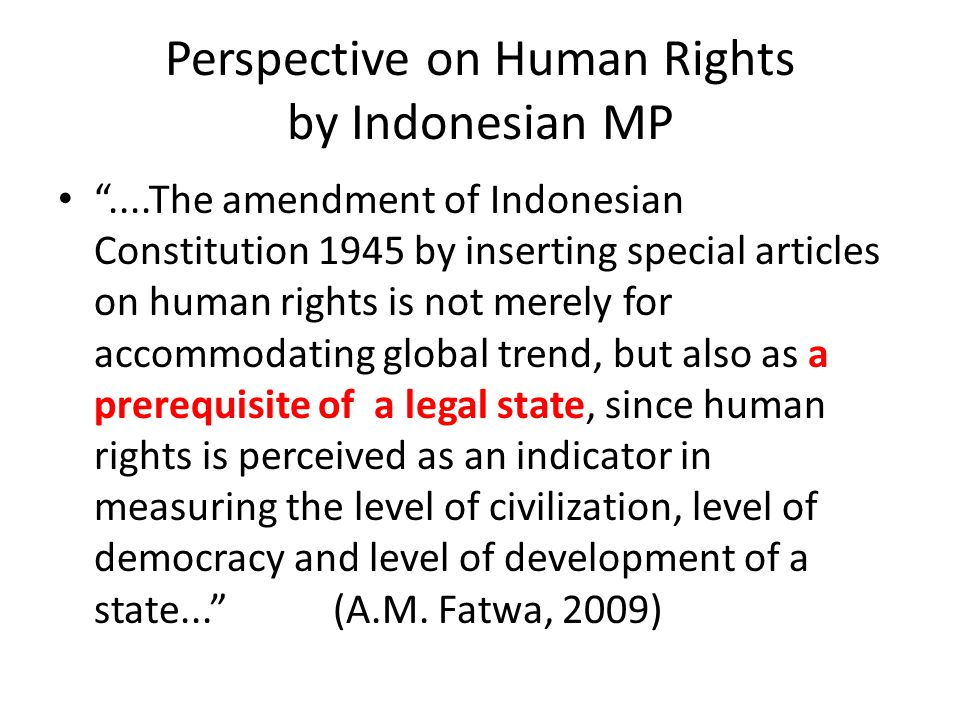 Perspective on Human Rights by Indonesian MP