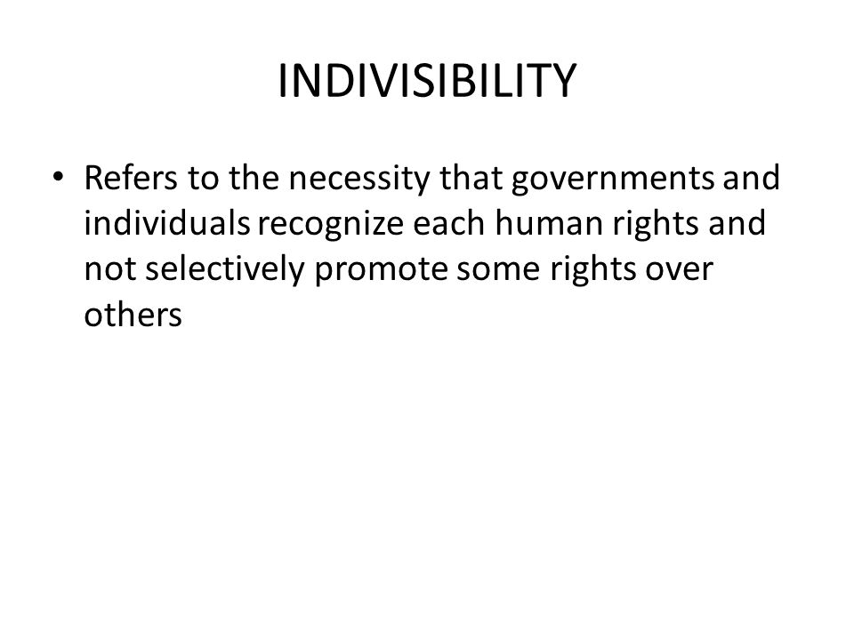 INDIVISIBILITY