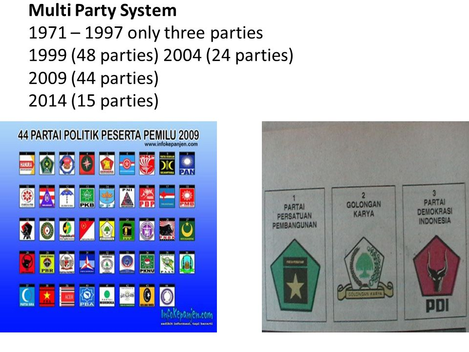 Multi Party System 1971 – 1997 only three parties 1999 (48 parties) 2004 (24 parties) 2009 (44 parties) 2014 (15 parties)