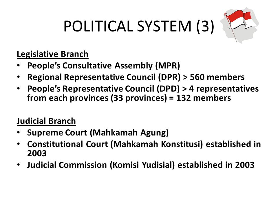 POLITICAL SYSTEM (3) Legislative Branch