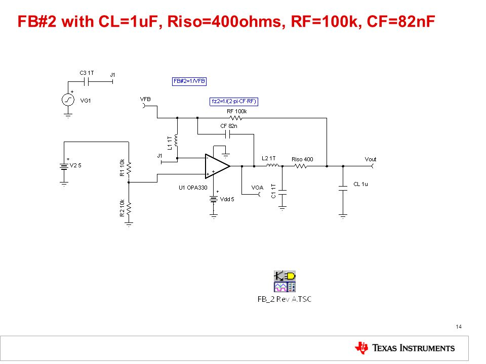 FB#2 with CL=1uF, Riso=400ohms, RF=100k, CF=82nF