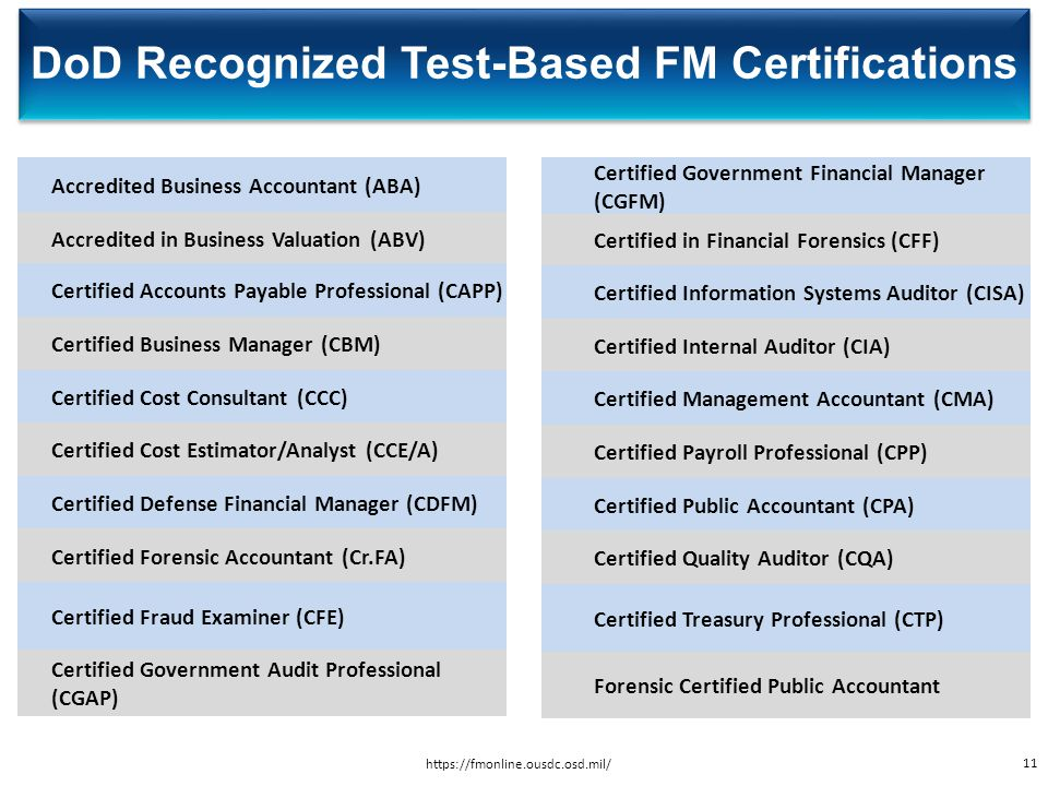DoD Recognized Test-Based FM Certifications