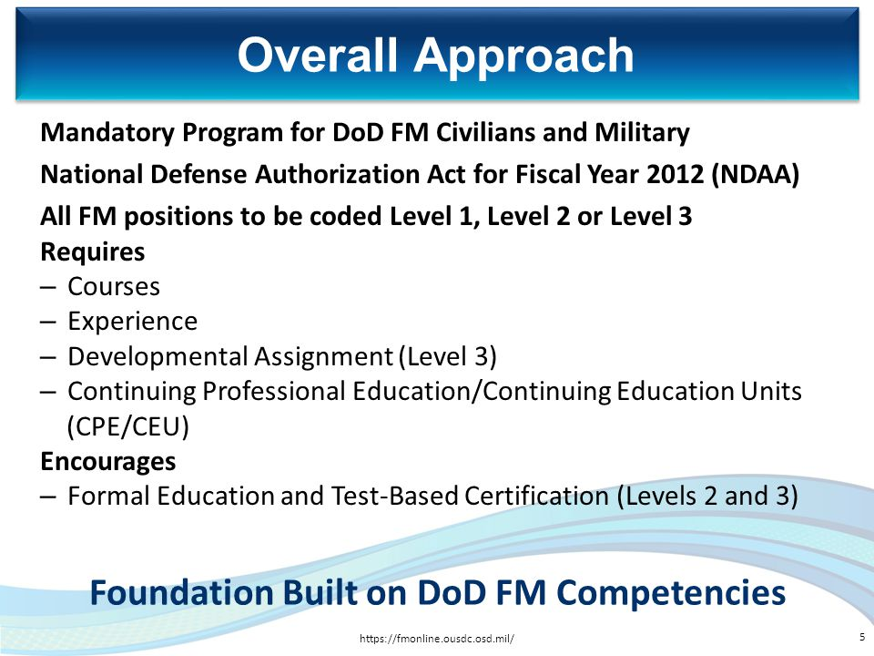 Foundation Built on DoD FM Competencies