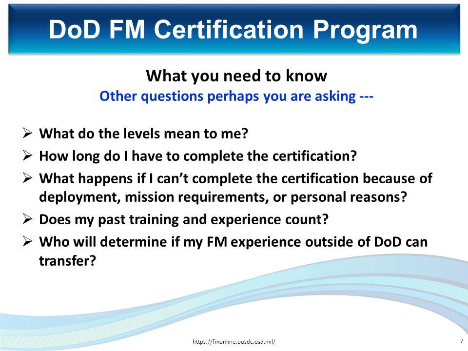DoD FM Certification Program