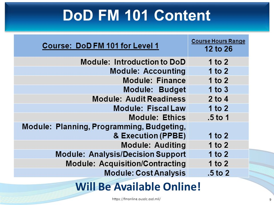 Course: DoD FM 101 for Level 1 Will Be Available Online!