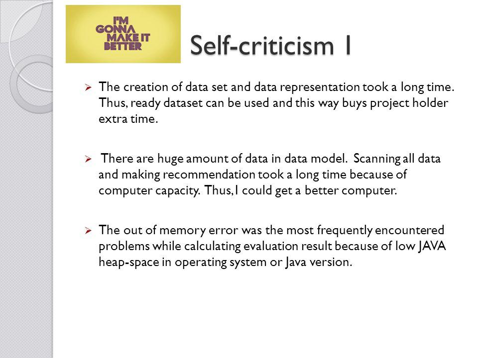 Self-criticism I